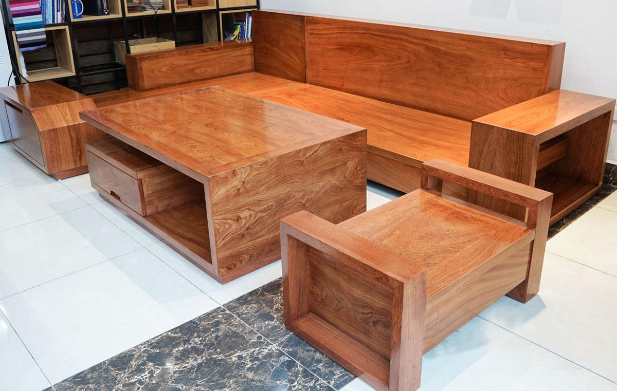 Bộ bàn ghế sofa gỗ xoan đào khi chưa có nệm da