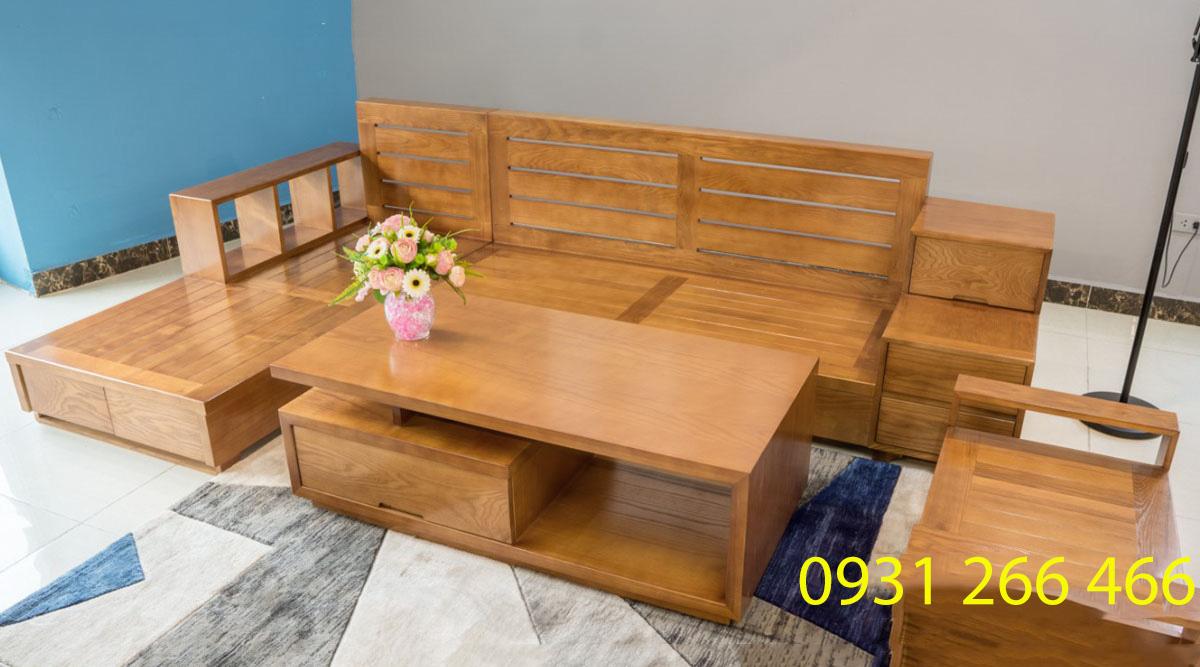 Hình ảnh Bộ ghế sofa gỗ góc chữ L đẹp hiện đại