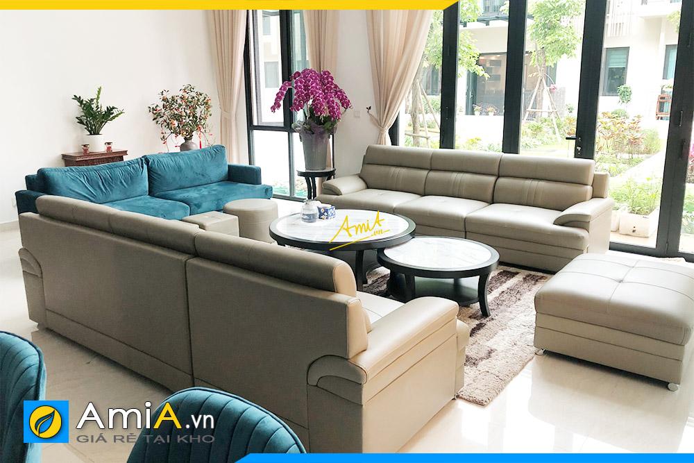 Hình ảnh Bộ ghế sofa văng da 3 chỗ đẹp kê đối xứng cho phòng khách rộng
