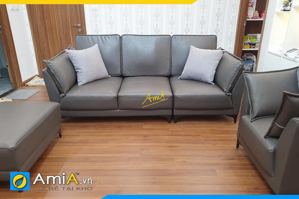Hình ảnh Bộ ghế sofa văng da 3 chỗ kèm ghế đôn đẹp hiện đại