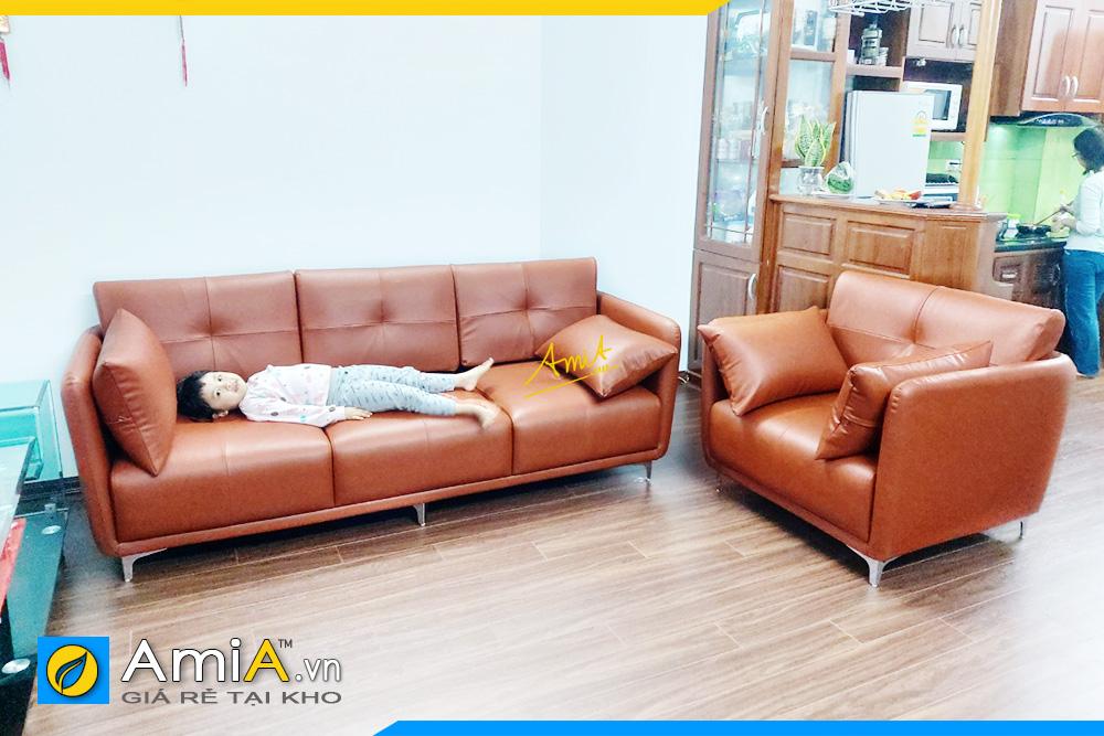 Hình ảnh Bộ ghế sofa văng da 3 chỗ kết hợp ghế đơn đẹp
