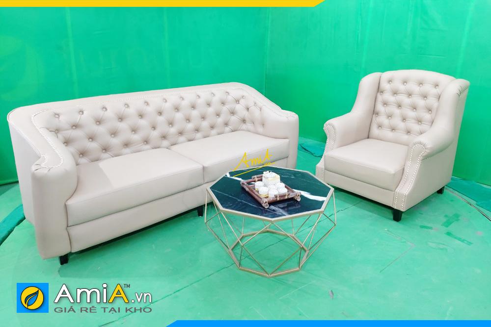 Hình ảnh Bộ ghế sofa văng da tân cổ điển kết hợp ghế đơn đẹp sang trọng