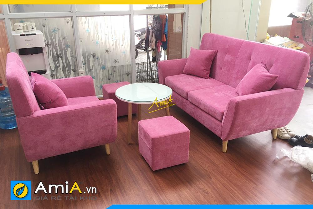 Hình ảnh Bộ ghế sofa văng nỉ màu hồng kết hợp ghế đơn đẹp xinh