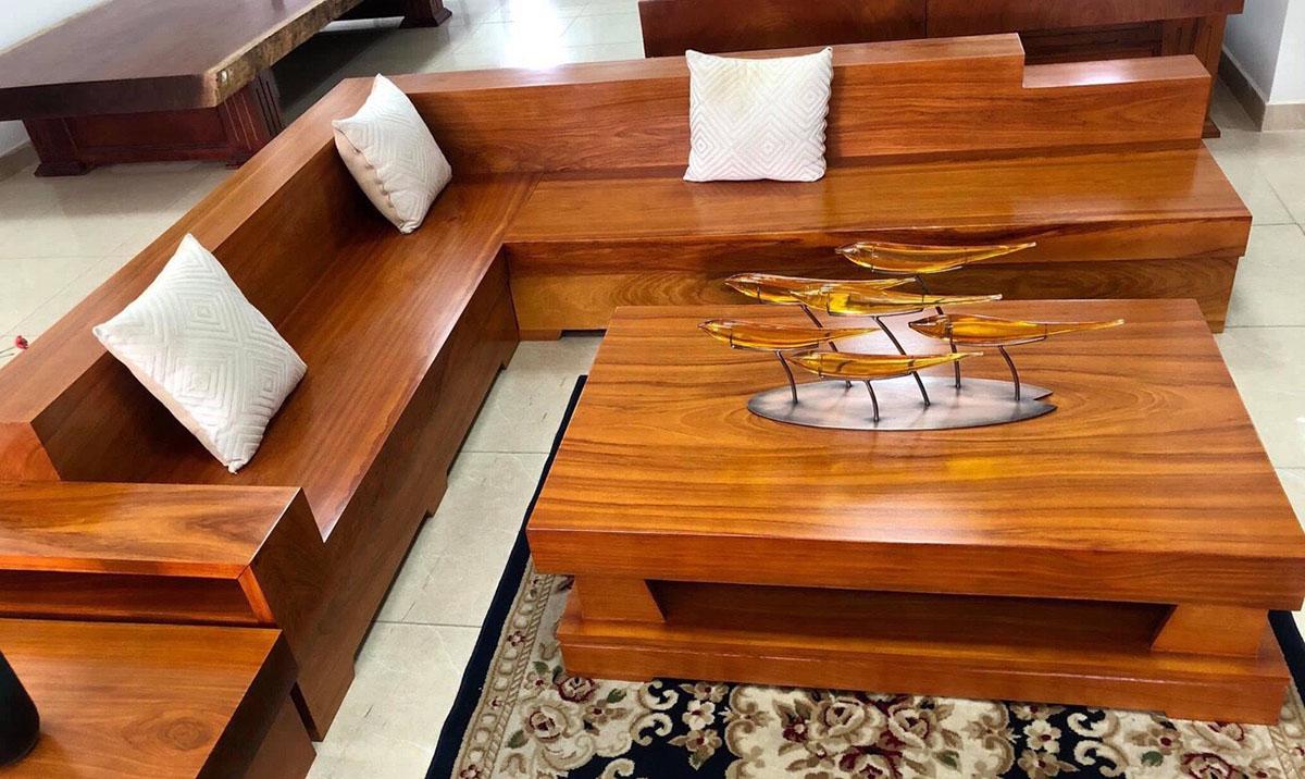 Bộ sofa gỗ nguyên khối dạng góc cỡ lớn cho phòng khách rộng
