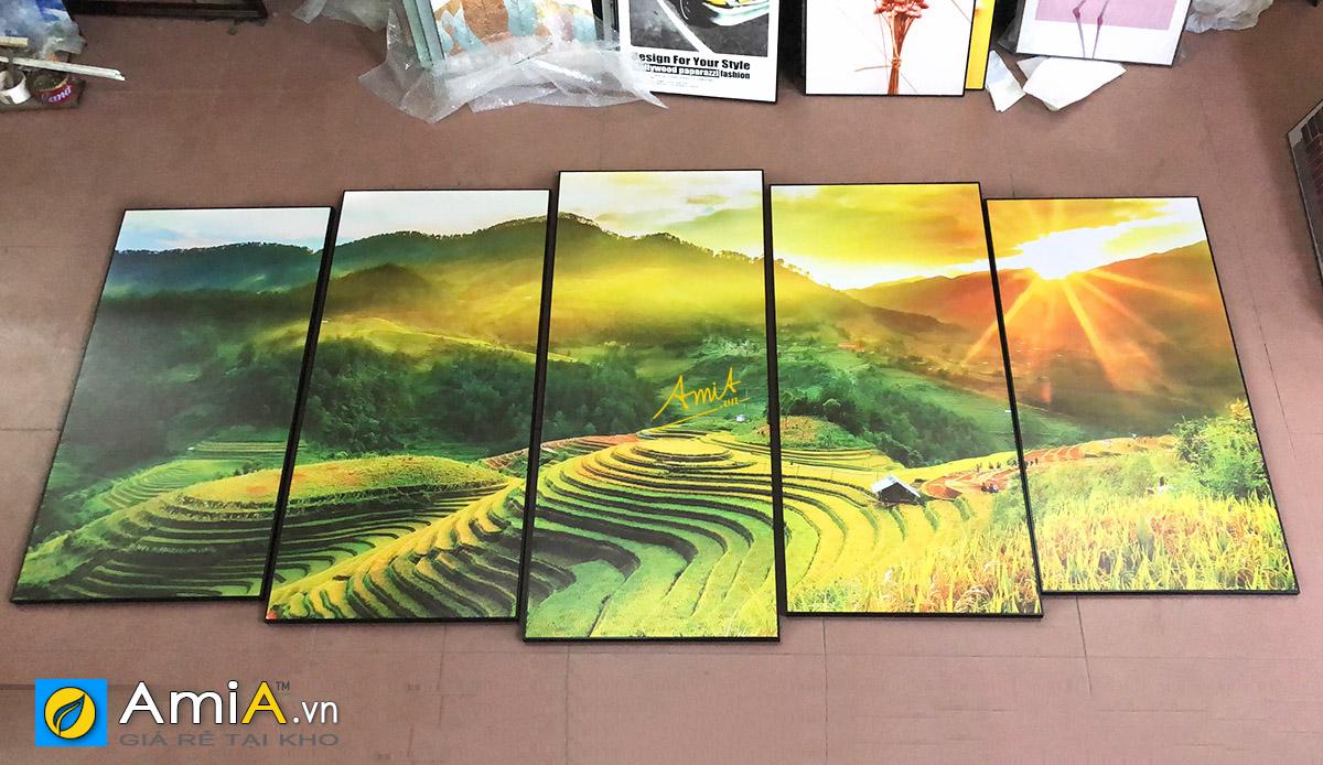 Hình ảnh Bộ tranh phong cảnh ruộng bậc thang khổ lớn treo tường đẹp