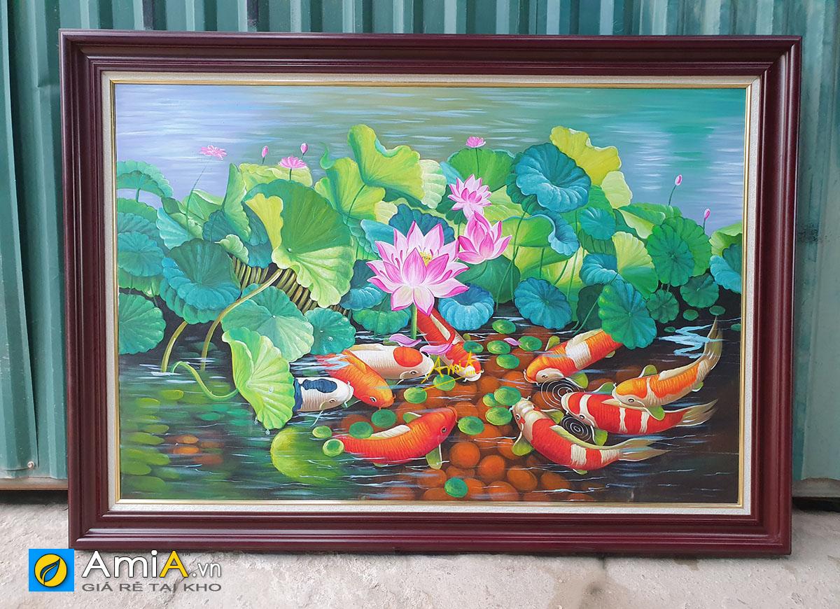 Hình ảnh Bức tranh cỡ lớn chủ đề cá chép hoa sen treo tường đẹp