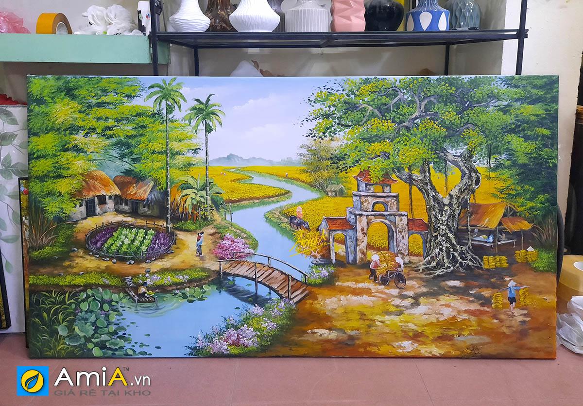 Hình ảnh Bức tranh cỡ lớn vẽ sơn dầu phong cảnh làng quê Việt Nam