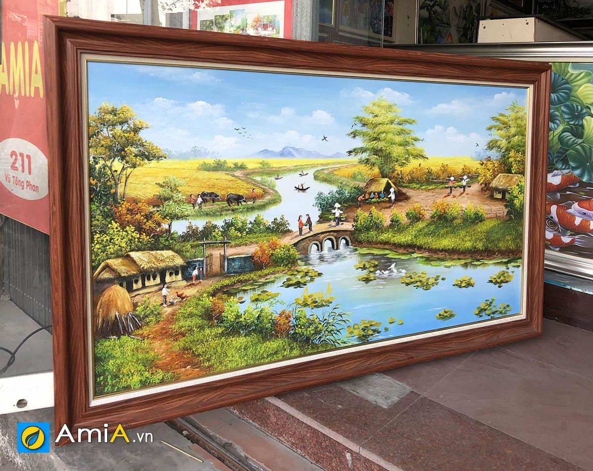 Hình ảnh Bức tranh làng quê Việt Nam vẽ sơn dầu khổ lớn mã TSD 555