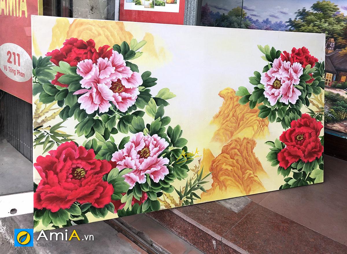 Hình ảnh Bức tranh sơn dầu hoa mẫu đơn khổ lớn chưa lên khung tại AmiA mã TSD 441