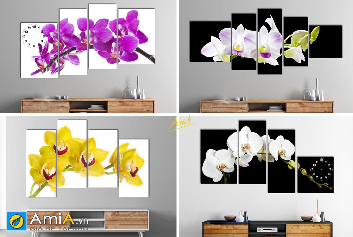 Hình ảnh Các mẫu tranh phong thủy hoa lan nở phú quý treo tường đẹp