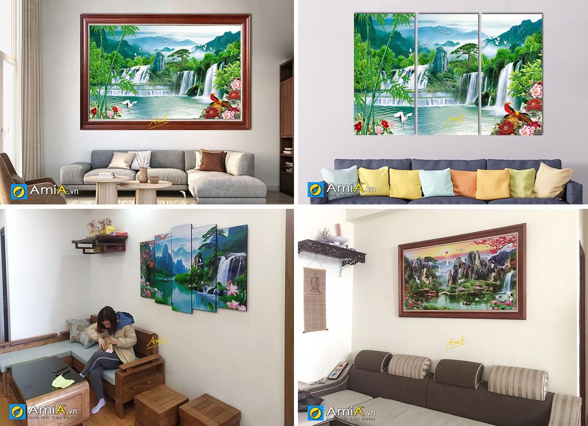 Hình ảnh Các mẫu tranh phong thủy sơn thủy hữu tình treo tường đẹp ý nghĩa