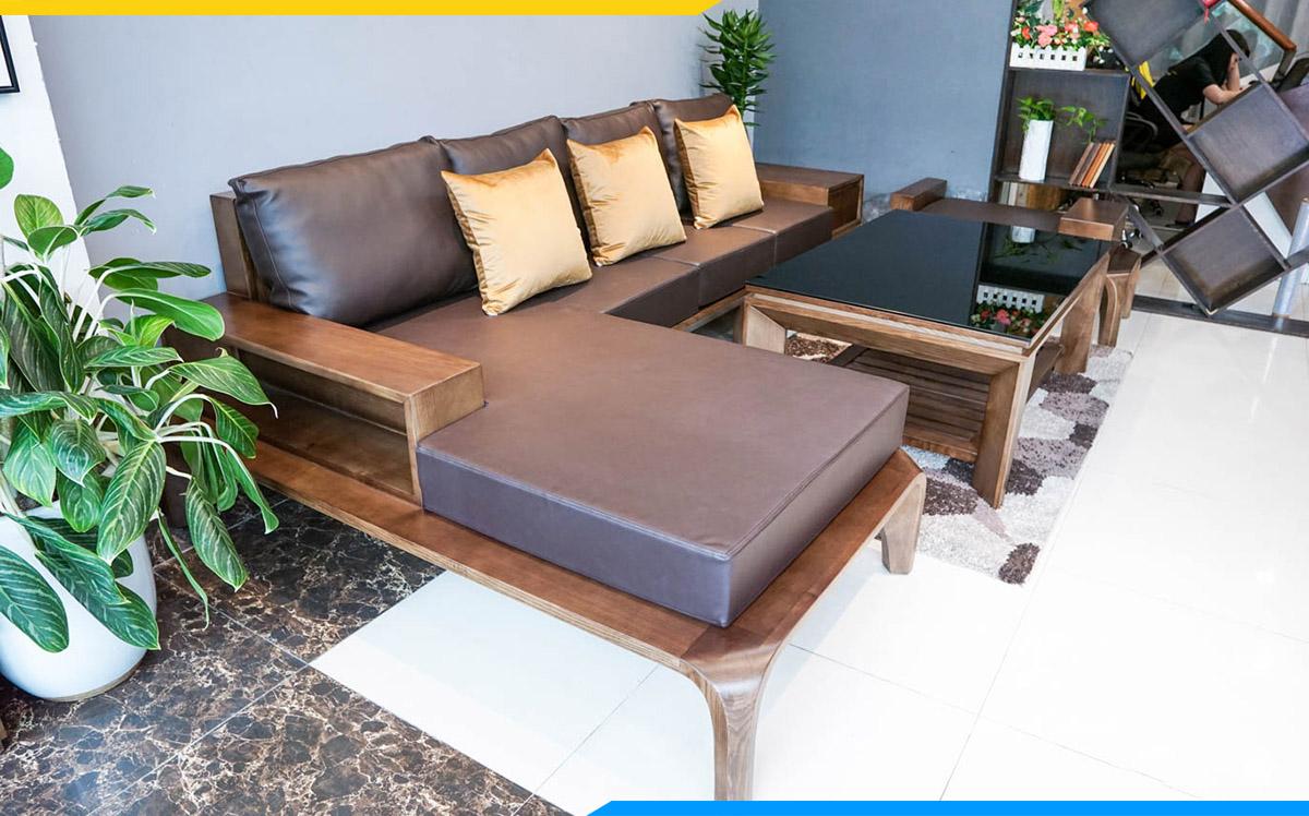 Bộ bàn ghế sofa gỗ góc bọc da sang trọng cho phòng làm việc riêng