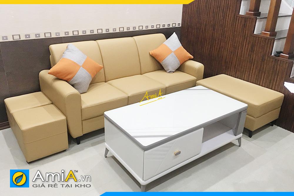Hình ảnh Chọn sofa văng da đẹp 3 chỗ kèm đôn lớn cho phòng khách