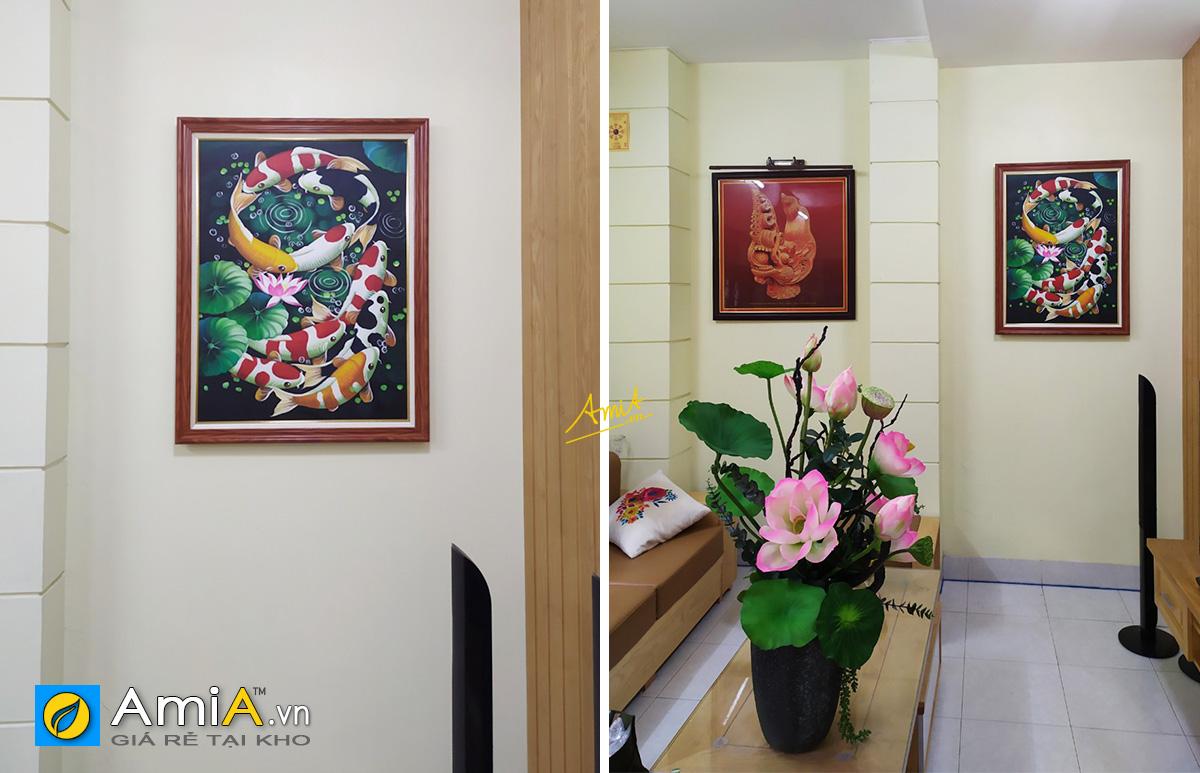 Hình ảnh Combo tranh 1 tấm khổ dọc treo ô âm tường phòng khách