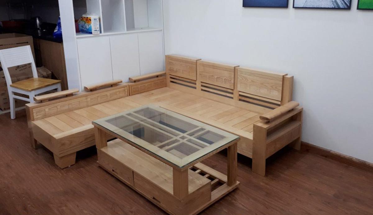 Ghế sofa gỗ phòng khách chưa có đệm lót