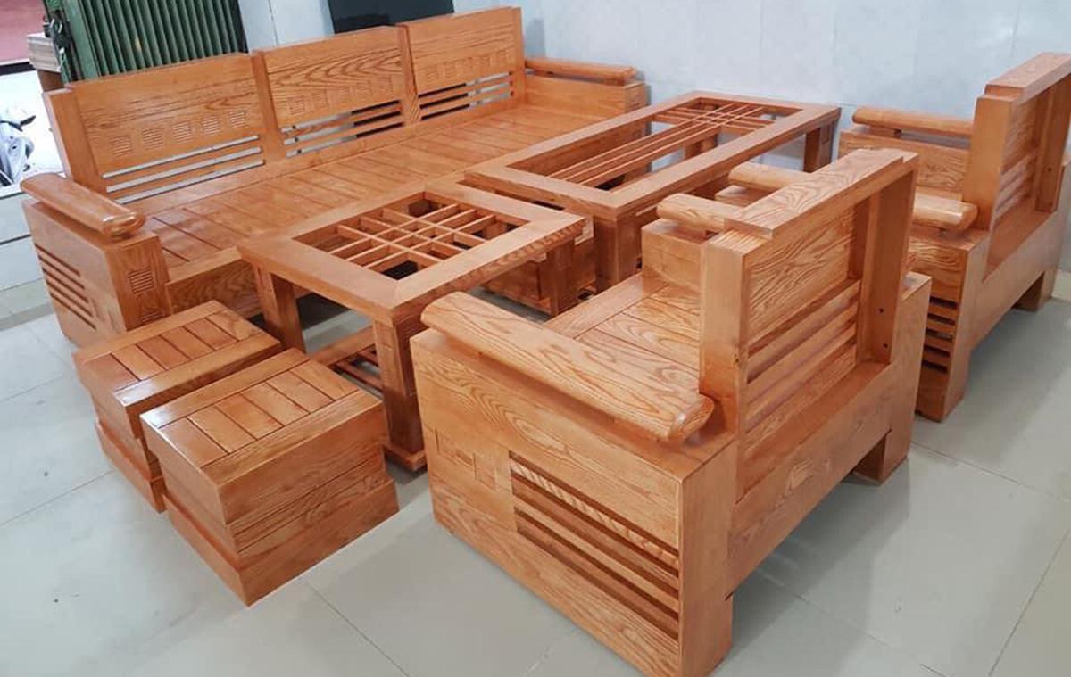 Ghế sofa gỗ đẹp, hiện đại theo bộ