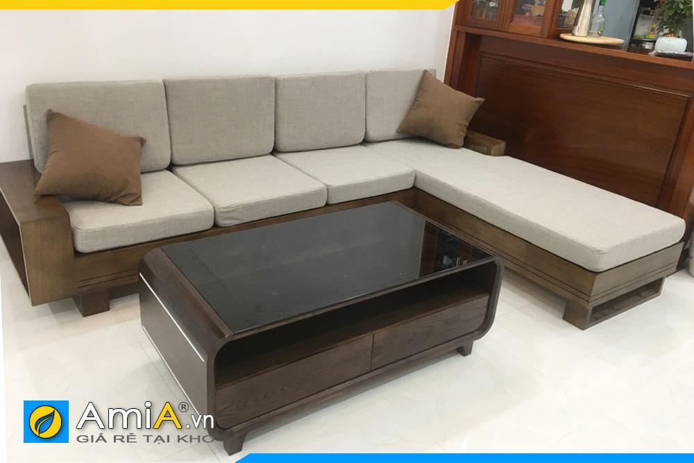Hình ảnh Bộ ghế sofa gỗ góc thiết kế hình chữ L đệm nỉ đẹp