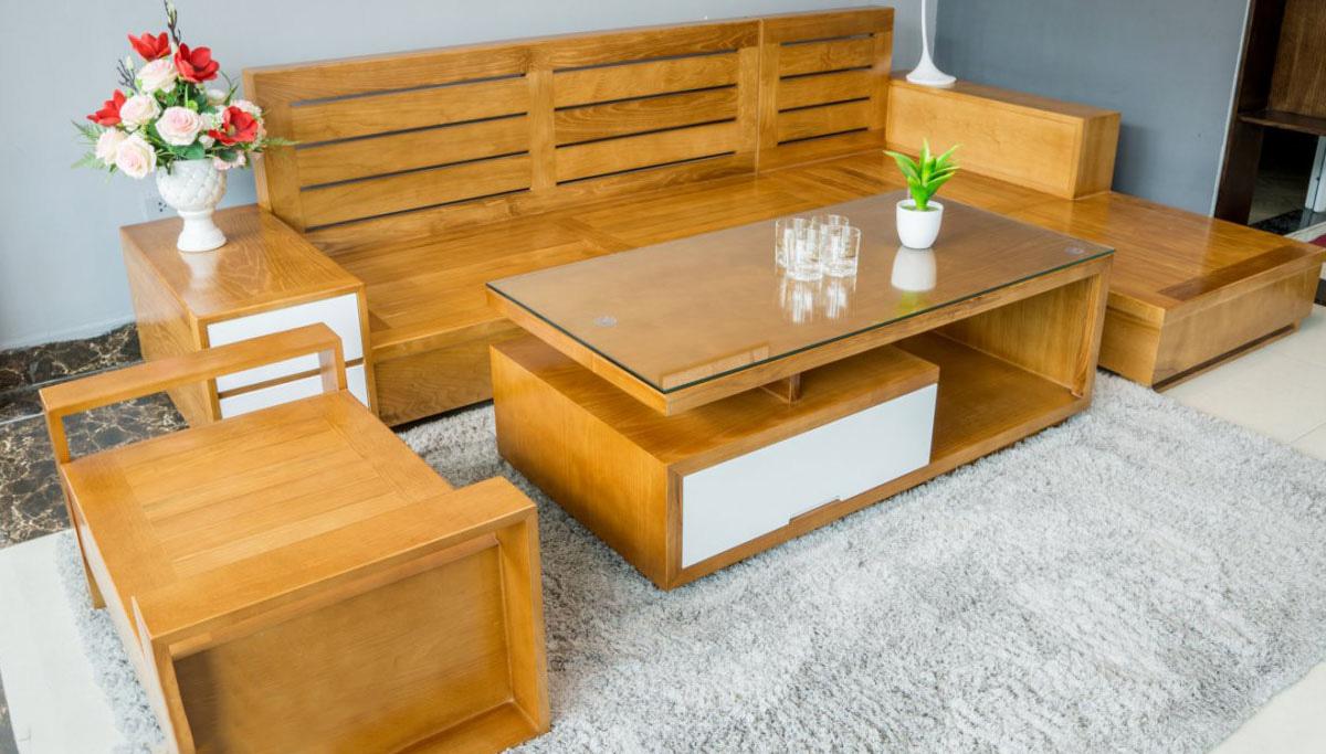 Ghế sofa gỗ  góc chữ L chưa có nệm màu nâu vàng cực đẹp