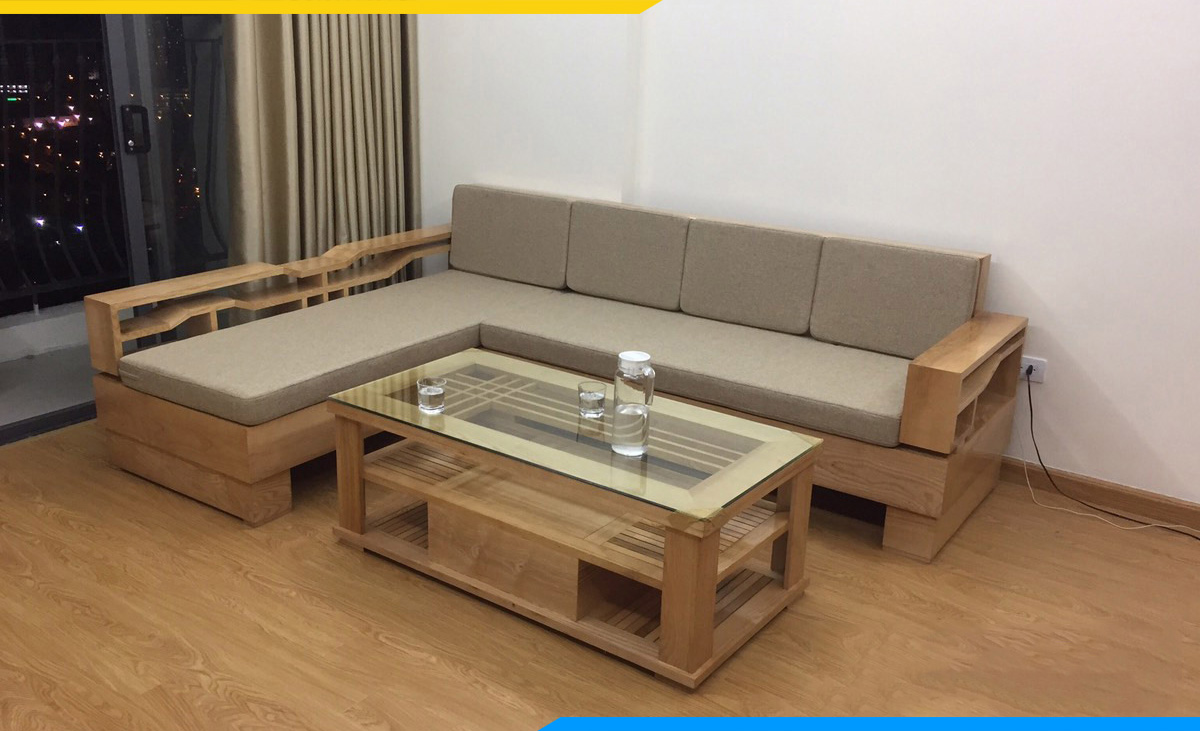 Ghế sofa gỗ tựa nhiên cao cấp nệm nỉ kê phòng khách và bàn trà kính