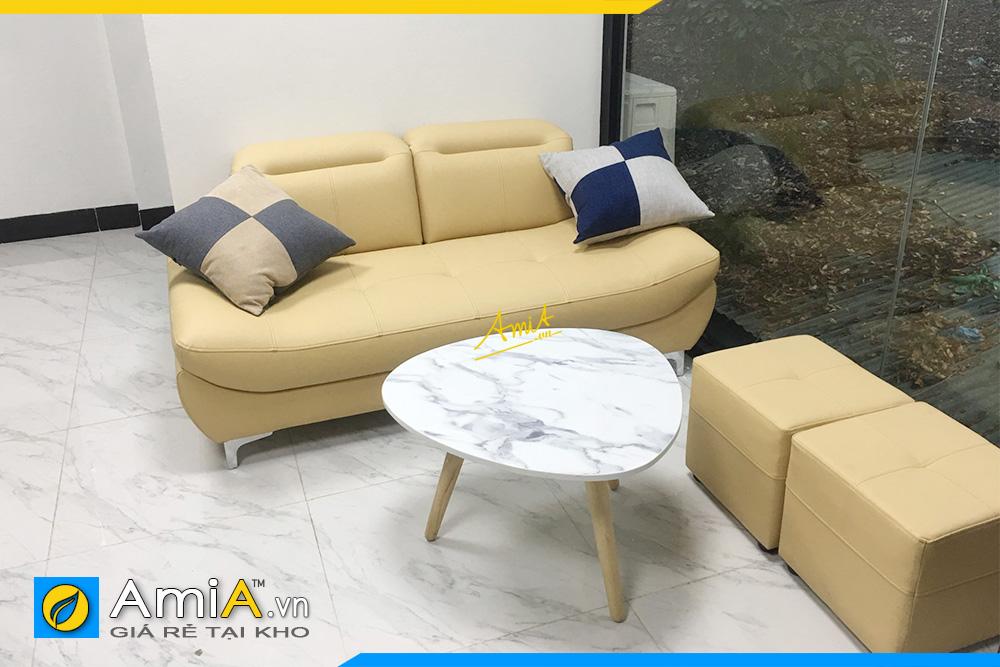 Hình ảnh Ghế sofa văng da 2 chỗ kích thước nhỏ hiện đại