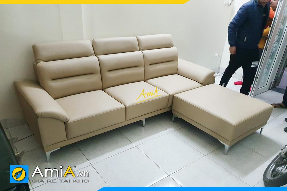 Hình ảnh Ghế sofa văng da 3 chỗ đẹp hiện đại kèm đôn lớn