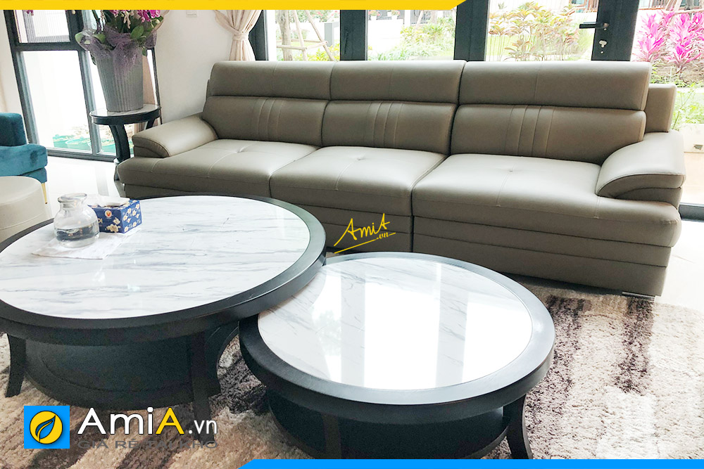 Hình ảnh Ghế sofa văng da 3 chỗ kê phòng khách đẹp hiện đại