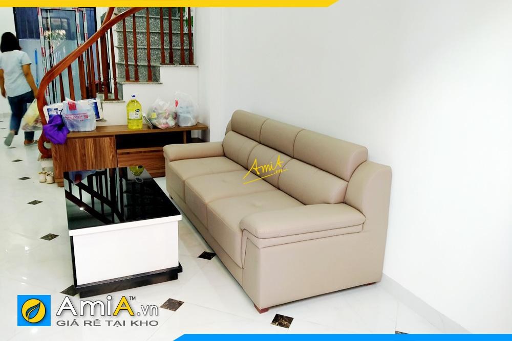 Hình ảnh Ghế sofa văng da đẹp 3 chỗ kê phòng khách nhà ống
