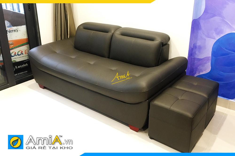Hình ảnh Ghế sofa văng da màu đen 2 chỗ đẹp không tay vịn