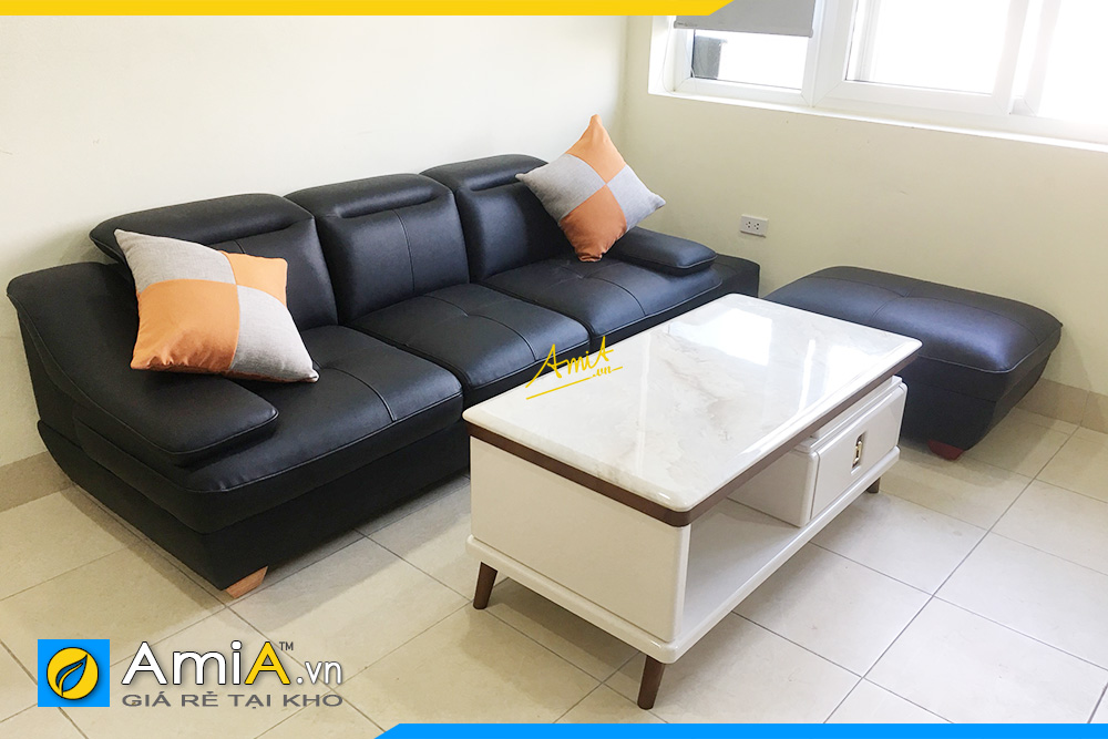 Hình ảnh Ghế sofa văng da màu đen đẹp sang trọng 3 chỗ ngồi
