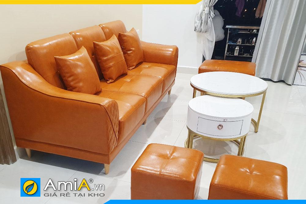 sofa văng ba chỗ ngồi chất liệu da công nghiệp bền đẹp