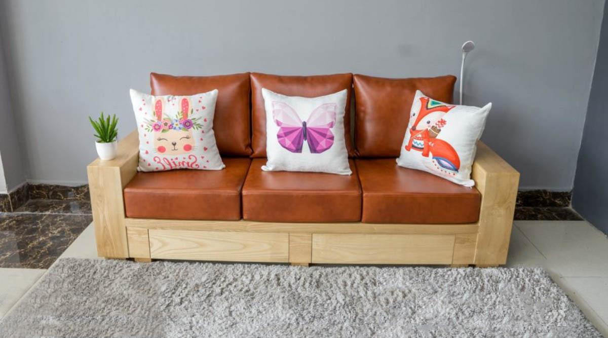 Ghế sopha văng gỗ tần bì 3 chỗ ngồi đệm da cực đẹp