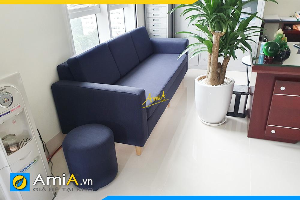 Hình ảnh Ghế sofa văng nỉ màu xanh cô ban cho phòng làm việc