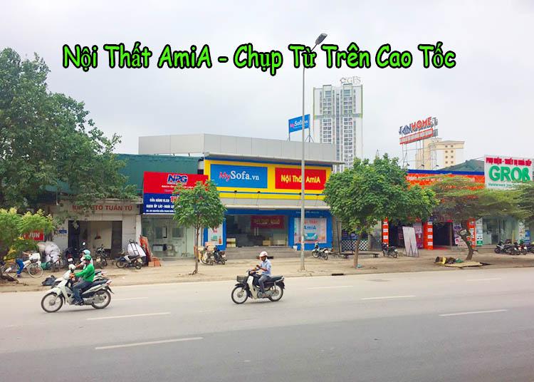 Ảnh chụp địa chỉ cửa hàng bán sofa AmiA 205 Nguyễn Xiển nhìn từ cao tốc
