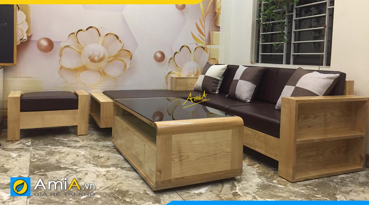 Bộ ghế sofa gỗ góc L dài 2m