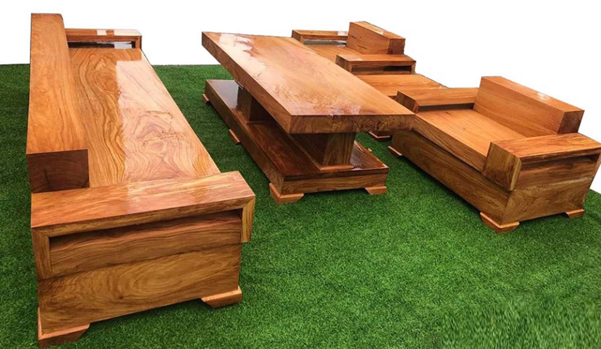 Bộ sofa gỗ nguyên khối lớn kết hợp 1 ghế văng+ 2 ghế chủ cho không gian có diện tích lớn