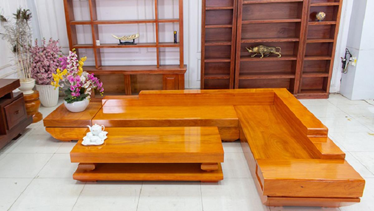 Ghế sofa gỗ nguyên khối cỡ đại cho phòng khách rộng