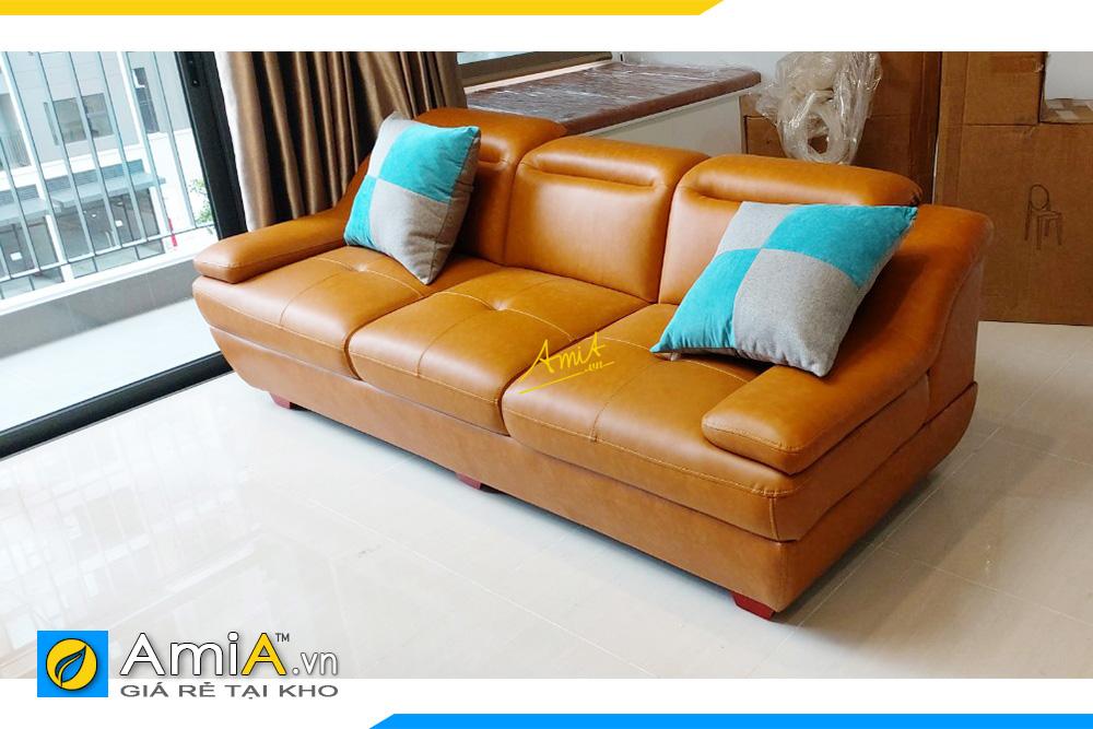 Hình ảnh Mẫu ghế sofa văng da 3 chỗ đẹp màu da bò