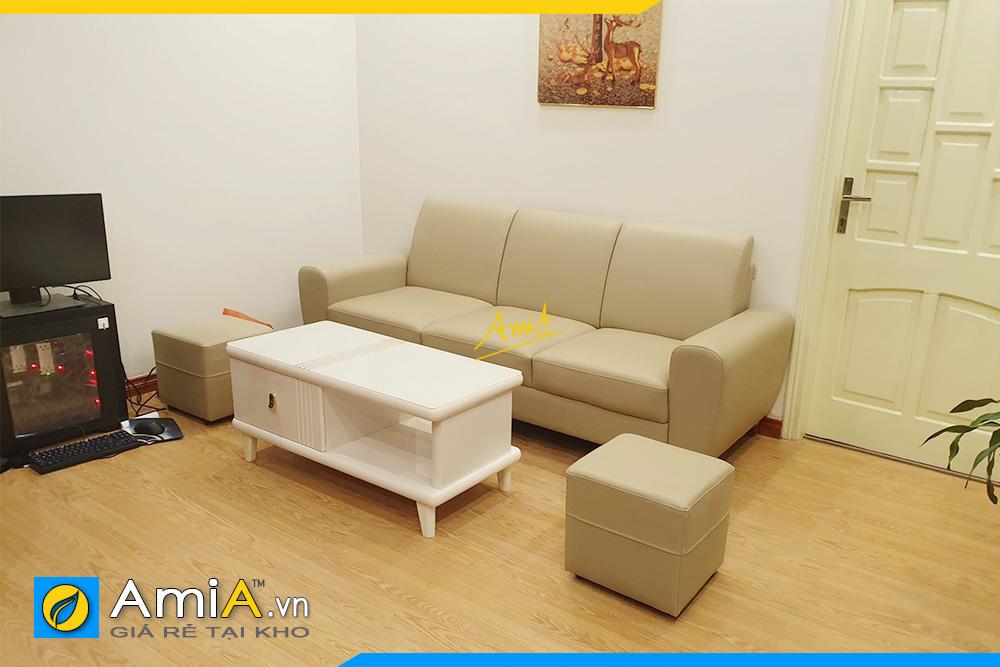 Hình ảnh Mẫu ghế sofa văng da đẹp hiện đại 3 chỗ ngồi