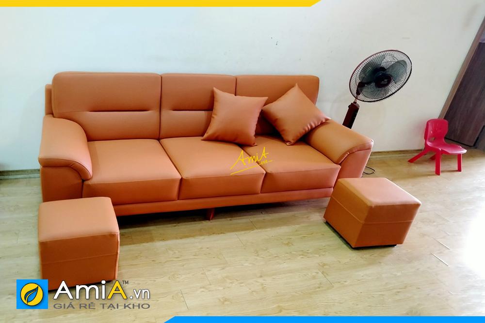 Hình ảnh Mẫu ghế sofa văng da màu cam đẹp kê phòng khách