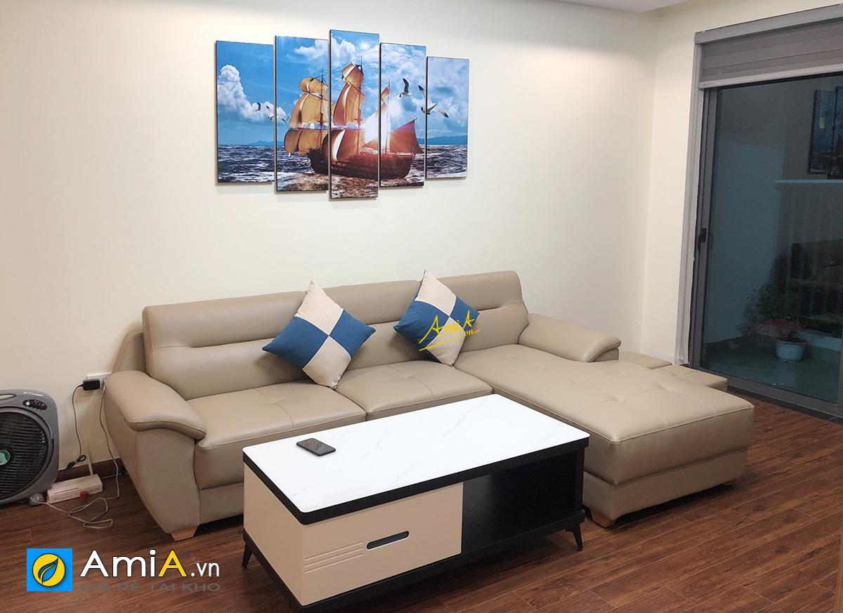 Hình ảnh Mẫu tranh treo phòng khách phía trên ghế sofa