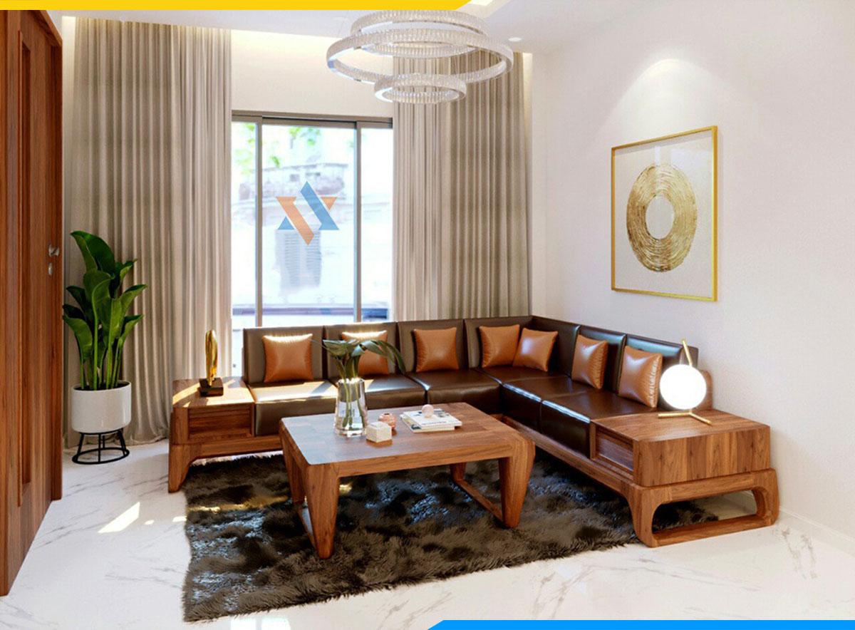 Bộ bàn ghế sofa gỗ tự nhiên cho không gian sống hiện đại