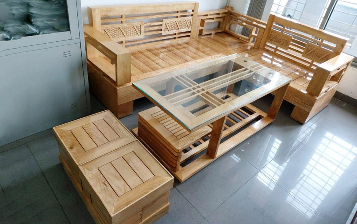 Hình ảnh Bộ sofa gỗ góc đẹp kích thước nhỏ xinh xắn