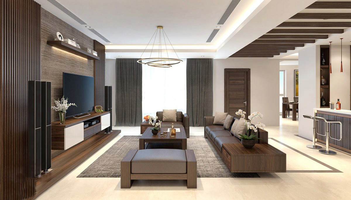 Bộ sofa gỗ cỡ lớn cho chung cư rộng, hiện đại