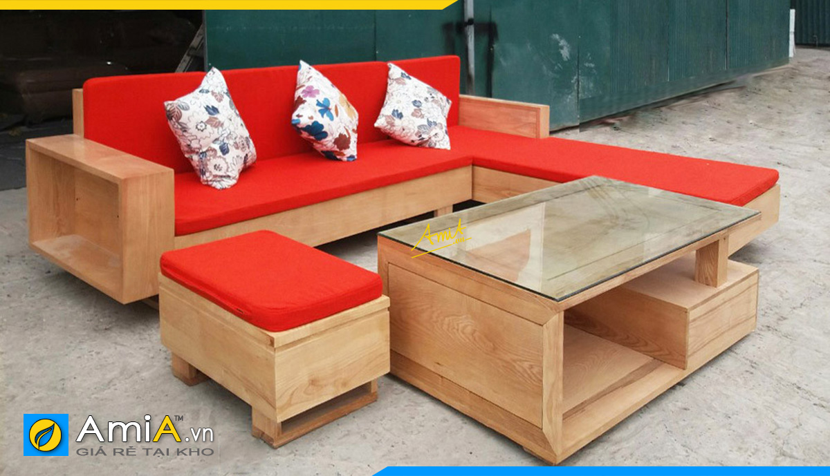 Sofa đỏ nguyên khối tay hộp đệm màu đỏ nổi bật