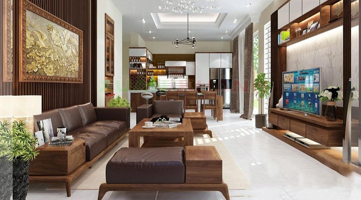 Sofa gỗ đẹp sang trọng sử dụng nhiều gỗ