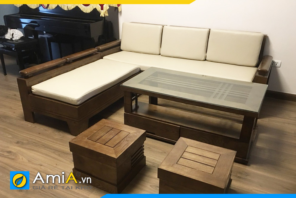 Sofa gỗ màu ghi sáng kê phòng khách hợp phong thủy mệnh Kim