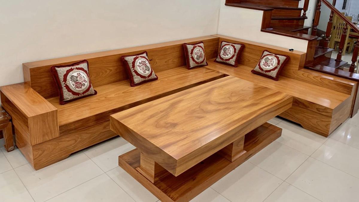 Bộ sofa gỗ nguyên khối dạng góc trẻ trung cỡ đại