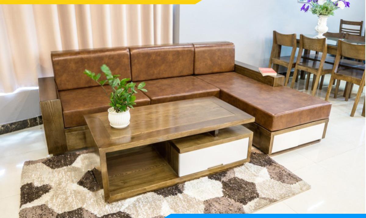Ghế sofa gỗ góc dài 2m