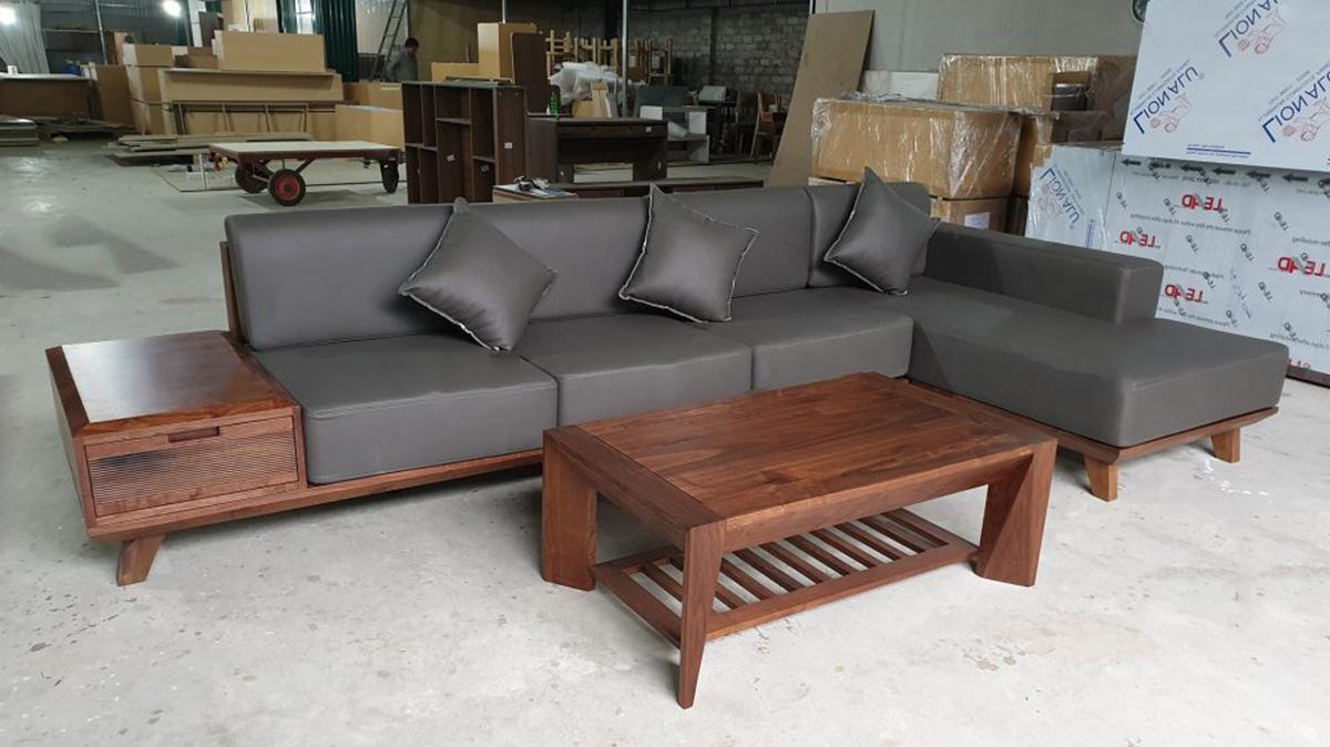 Ghế sopha dạng góc chữ L sang trọng kích thước lớn vừa hoàn thiện tại xưởng
