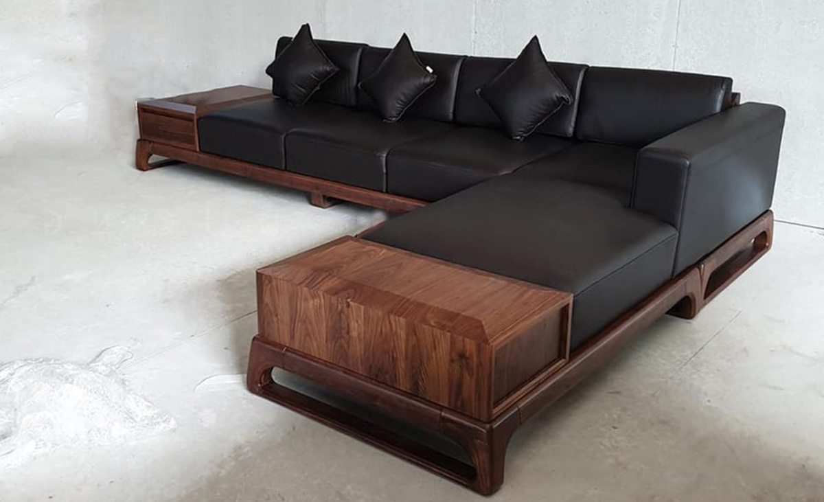 Sopha gỗ góc kích thước lớn cho phòng khách rộng